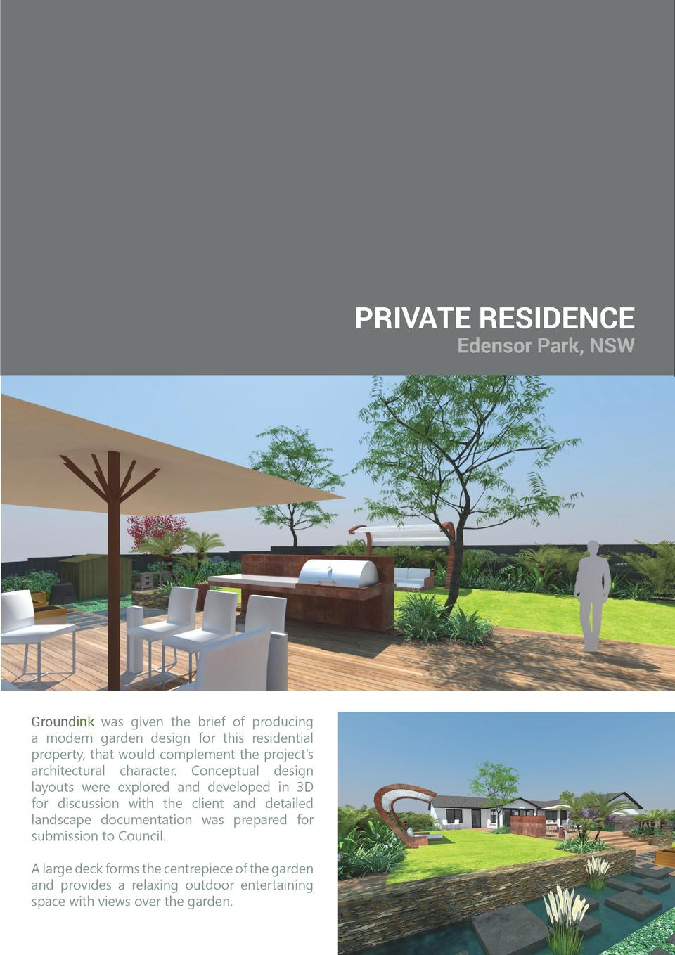 PRIVATE RESIDENCE  Edensor Park, NSW  Groundink was given the brief of producing a modern garden design for this residenti...