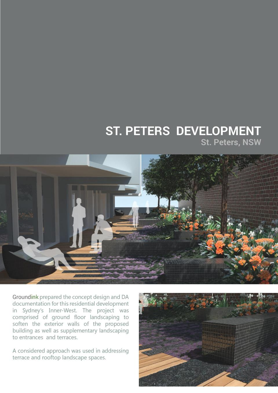 ST. PETERS DEVELOPMENT St. Peters, NSW  Groundink prepared the concept design and DA documentation for this residential de...