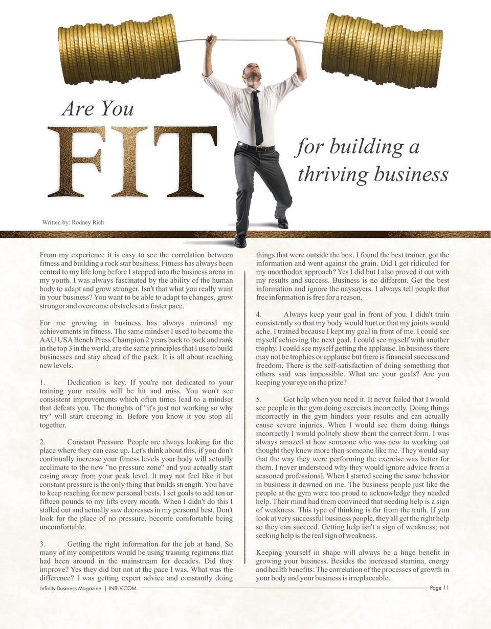 Are You  FIT  for building a thriving business  Written by  Rodney Rich  From my experience it is easy to see the correlat...