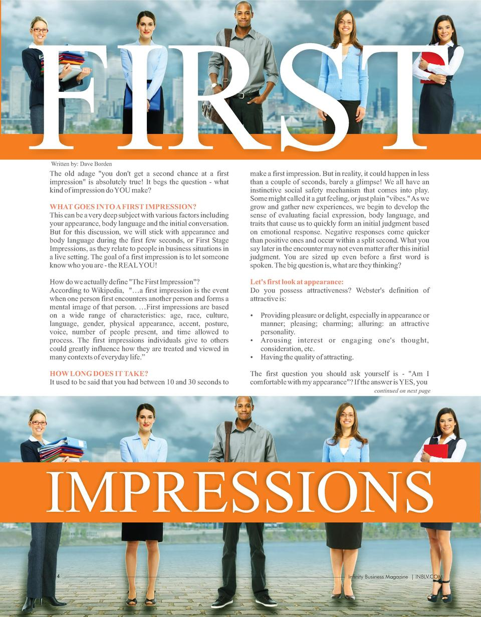 FIRST Written by  Dave Borden  The old adage  you don t get a second chance at a first impression  is absolutely true  It ...