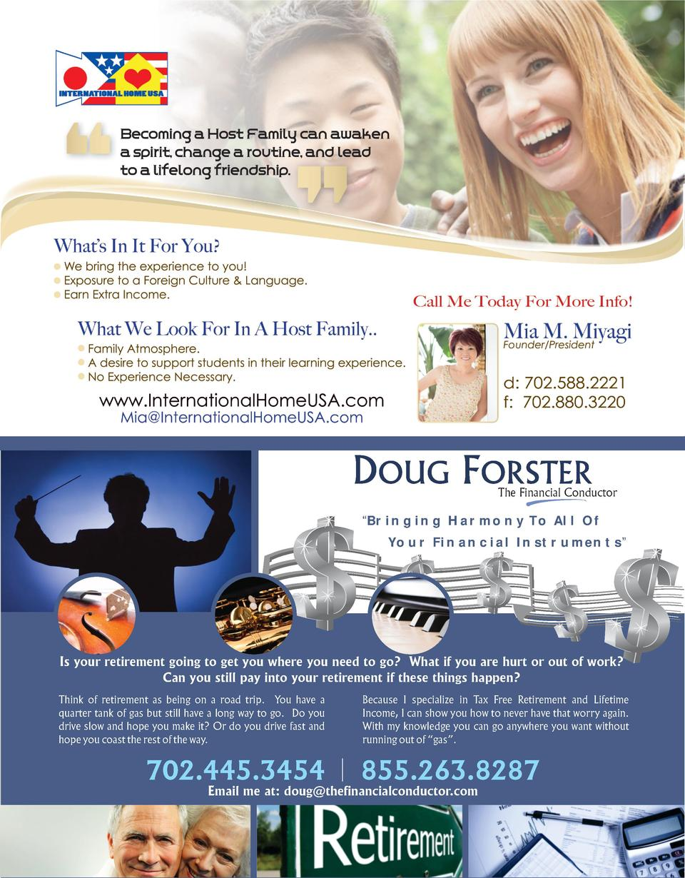 DOUG FORSTER  The Financial Conductor     Bringing Harmony To All Of Your Financial Instruments     Is your retirement goi...