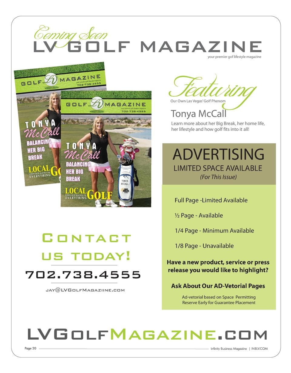 Coming Soon MAGAZINE LV GOLF your premier gof lifestyle magazine  NE M A G A Z I8-4555  GOLF  your premier  golf lifestyle...