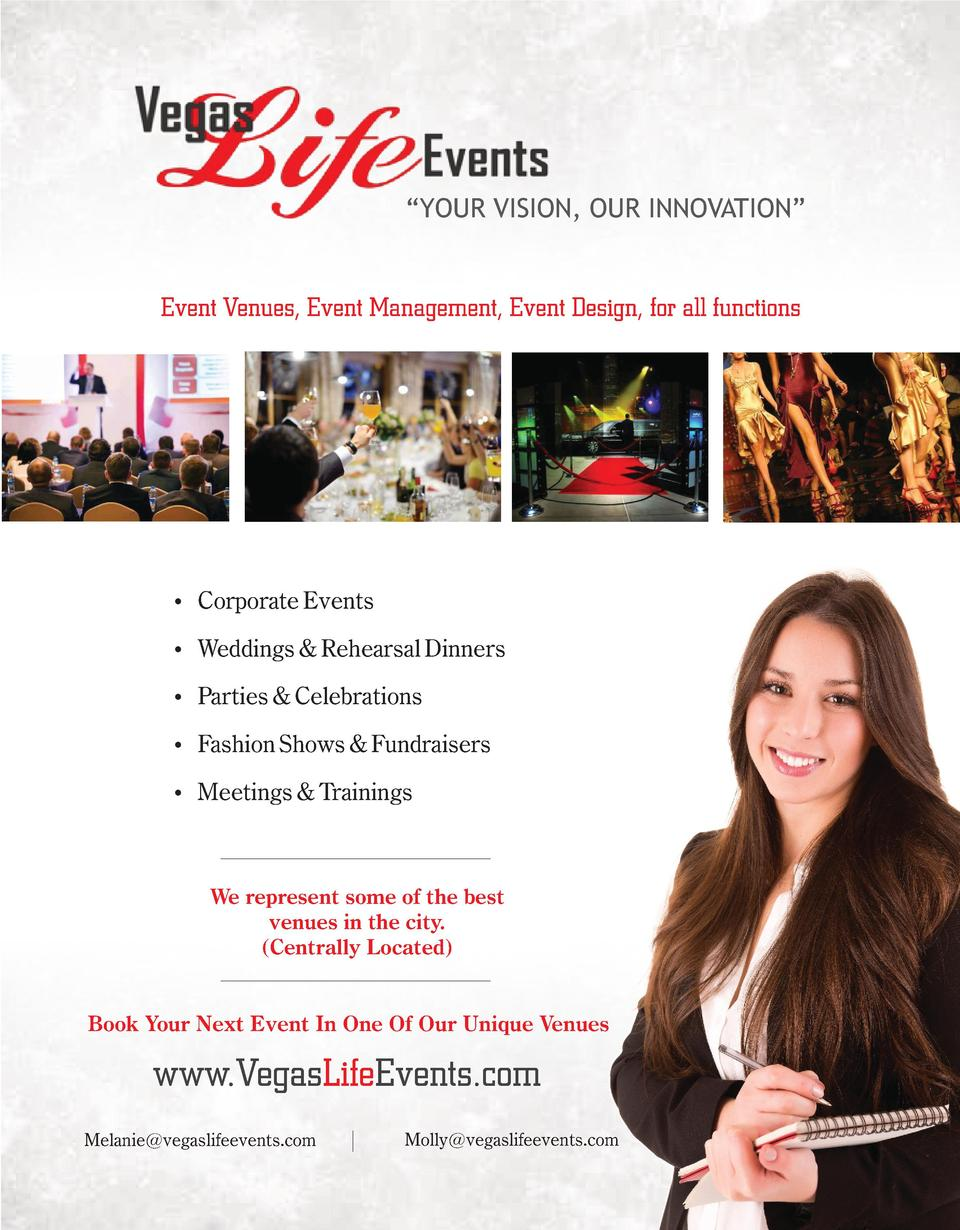 YOUR VISION, OUR INNOVATION     Event Venues, Event Management, Event Design, for all functions     Corporate Events   ...
