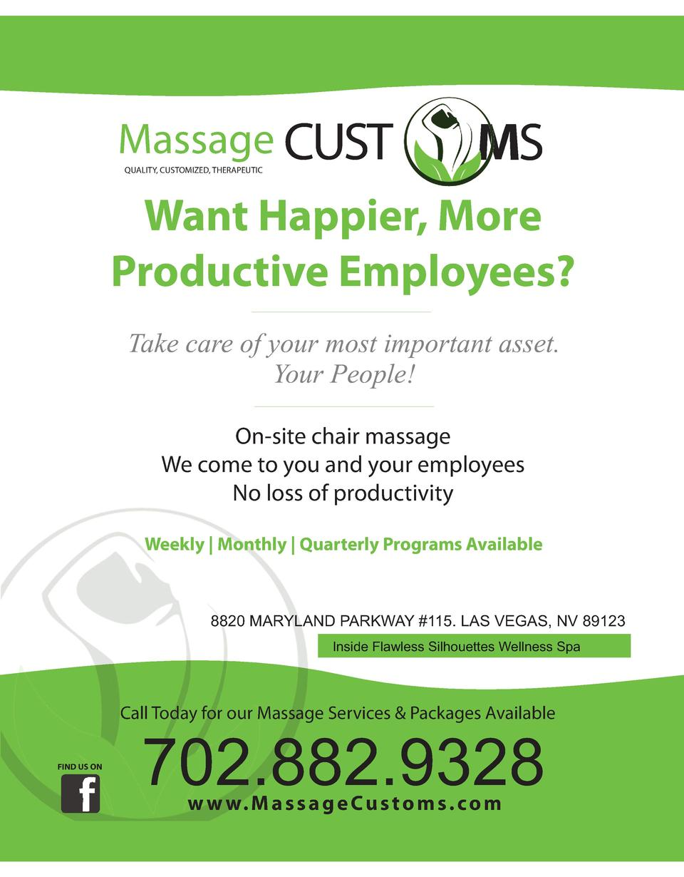 Massage CUST QUALITY, CUSTOMIZED, THERAPEUTIC  MS  Want Happier, More Productive Employees  Take care of your most importa...