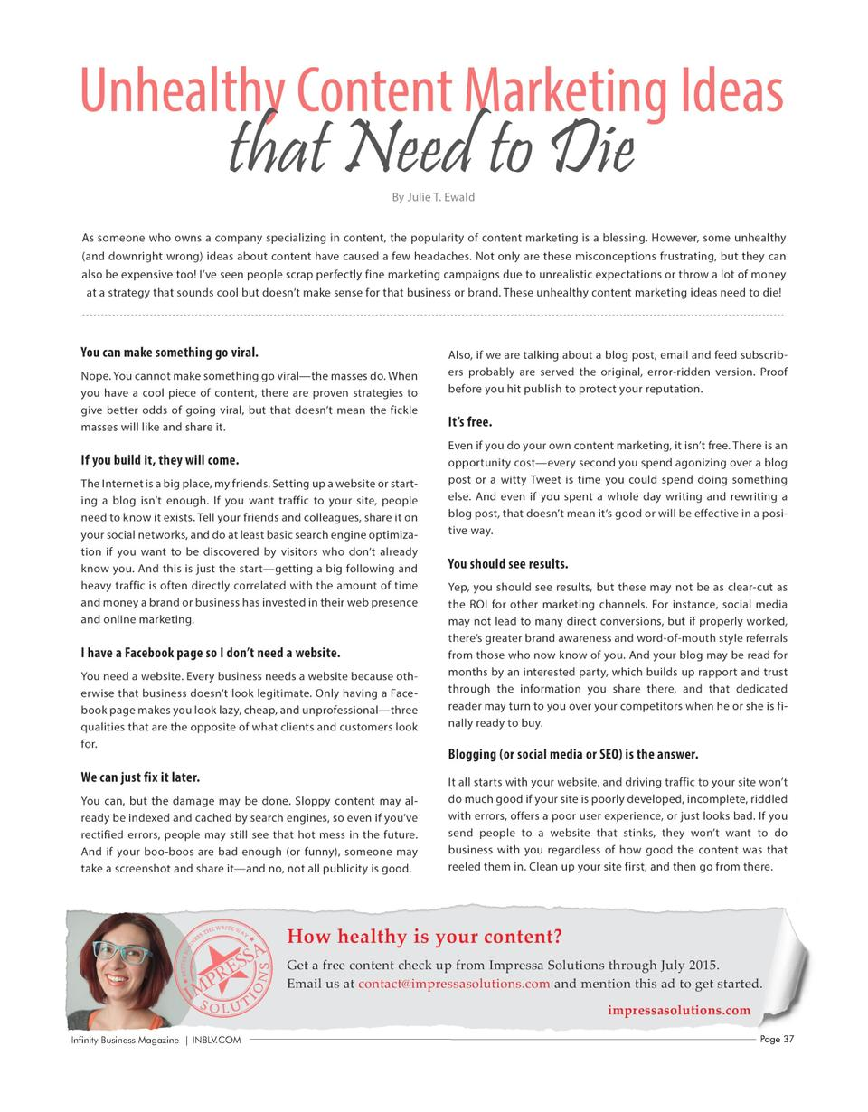 Infinity Business Magazine   INBLV.COM  Page 37