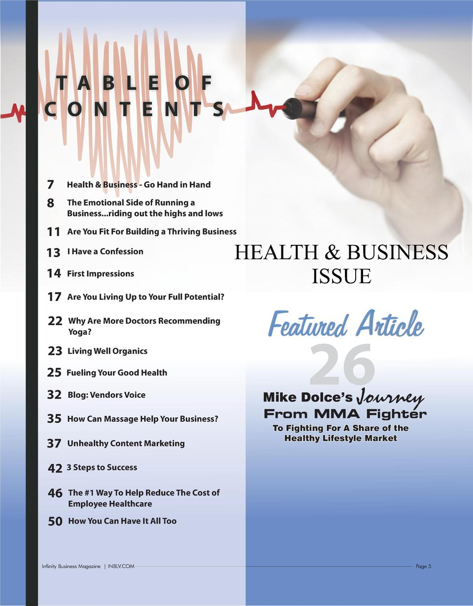 T A B L E O F C O N T E N T S  7 8  Health   Business - Go Hand in Hand  11  Are You Fit For Building a Thriving Business ...