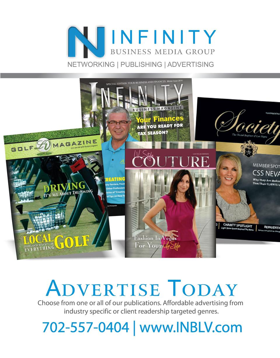 INFINITY  business media group NETWORKING   PUBLISHING   ADVERTISING  Advertise Today  Choose from one or all of our publi...