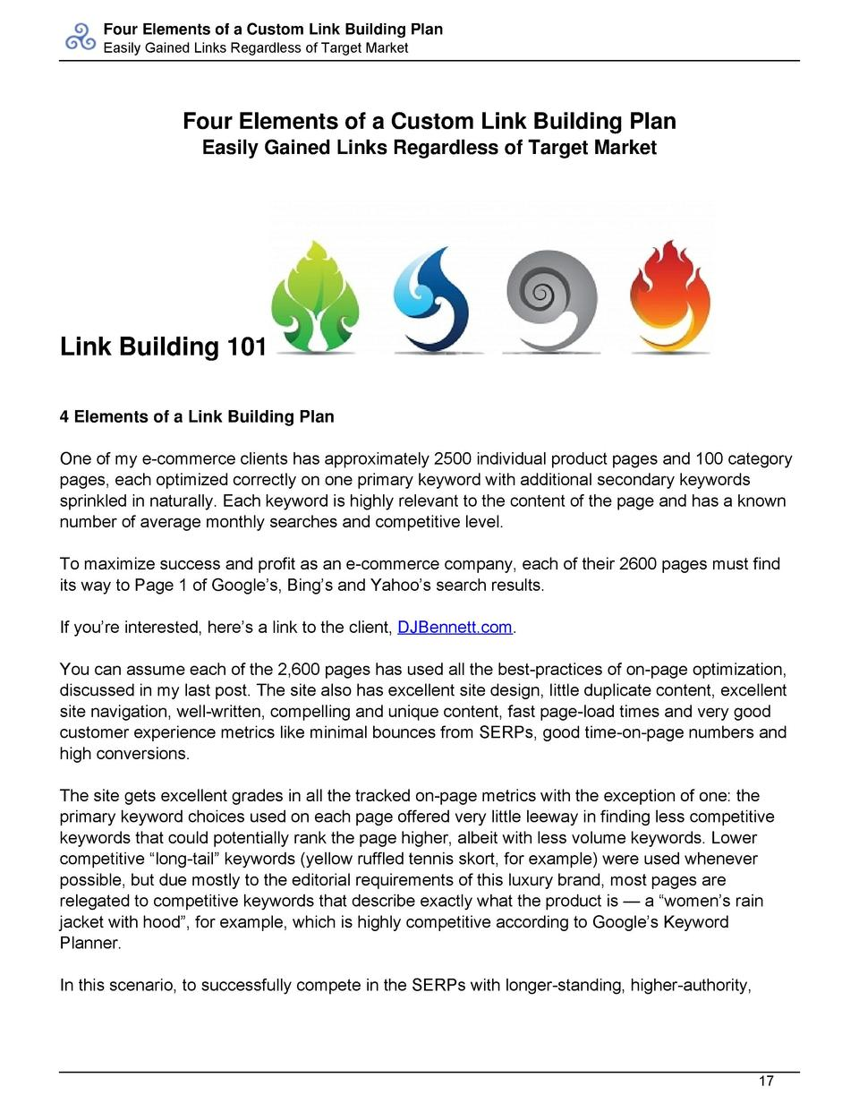 Four Elements of a Custom Link Building Plan Easily Gained Links Regardless of Target Market  Four Elements of a Custom Li...