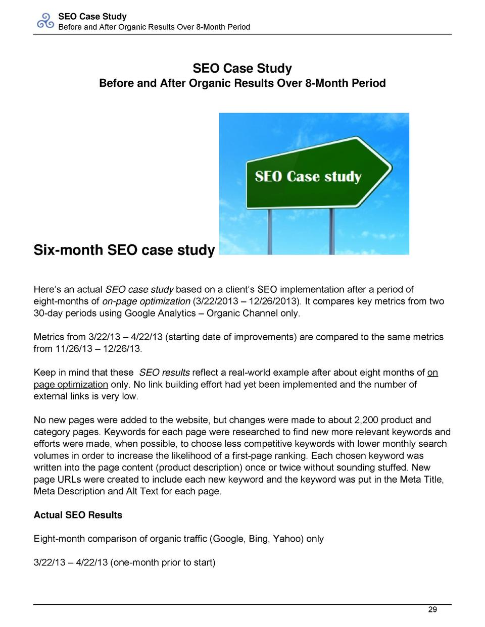 SEO Case Study Before and After Organic Results Over 8-Month Period  SEO Case Study Before and After Organic Results Over ...