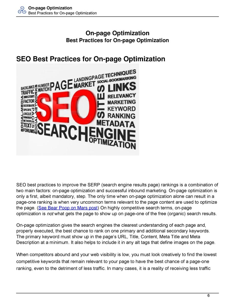 On-page Optimization Best Practices for On-page Optimization  On-page Optimization Best Practices for On-page Optimization...