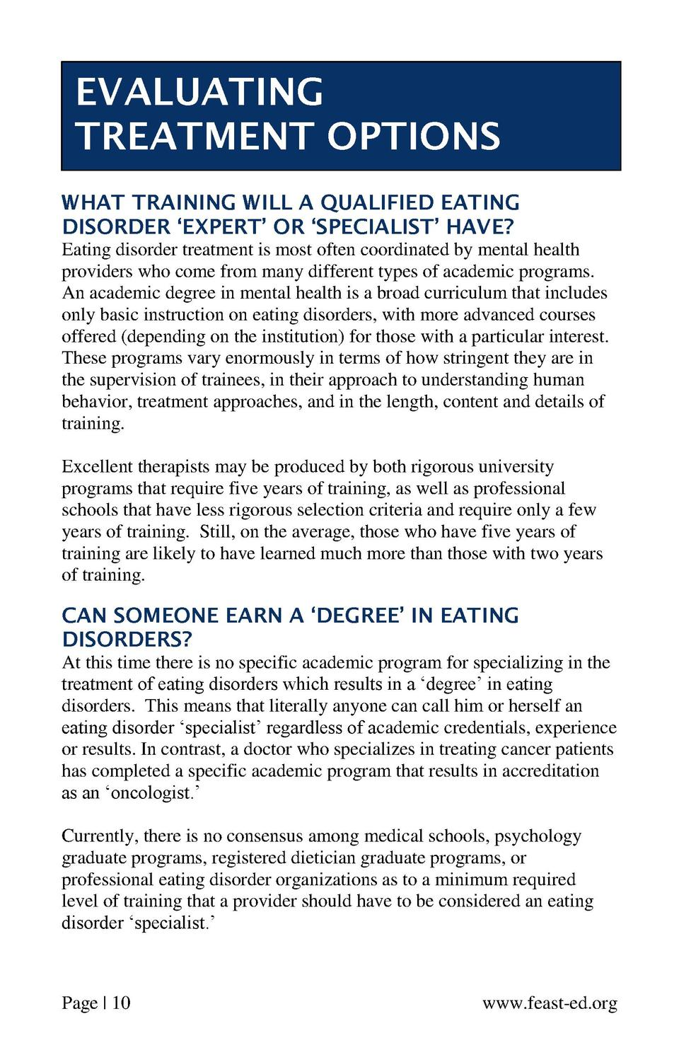 EVALUATING TREATMENT OPTIONS WHAT TRAINING WILL A QUALIFIED EATING DISORDER    EXPERT    OR    SPECIALIST    HAVE  Eating ...