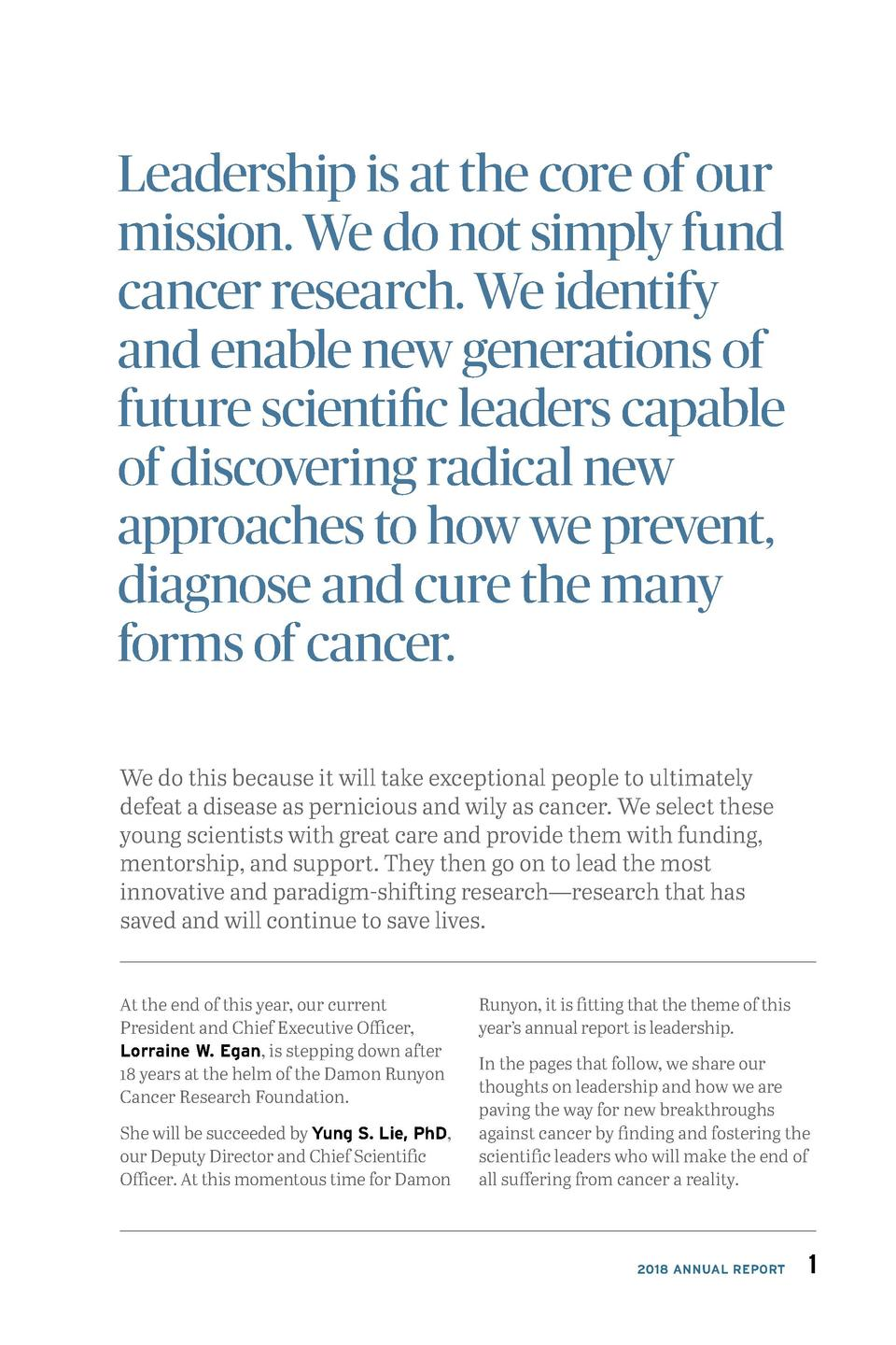 Leadership is at the core of our mission. We do not simply fund cancer research. We identify and enable new generations of...