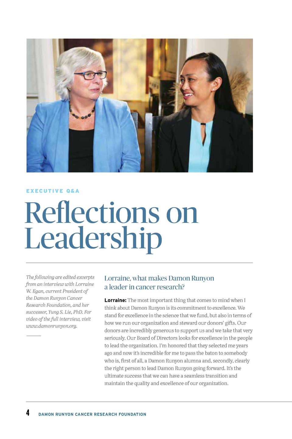 EXECUTIVE Q A  Reflections on Leadership The following are edited excerpts from an interview with Lorraine W. Egan, curren...