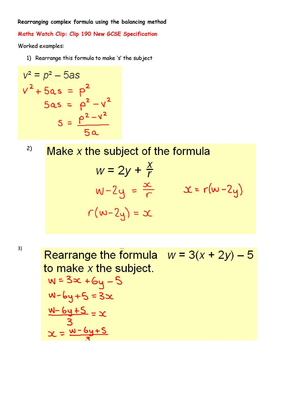 worksheet Rearranging Equations Worksheet maths algebra worksheet simplebooklet com rearranging complex formula using the balancing method watch clip 190 new gcse specification worked