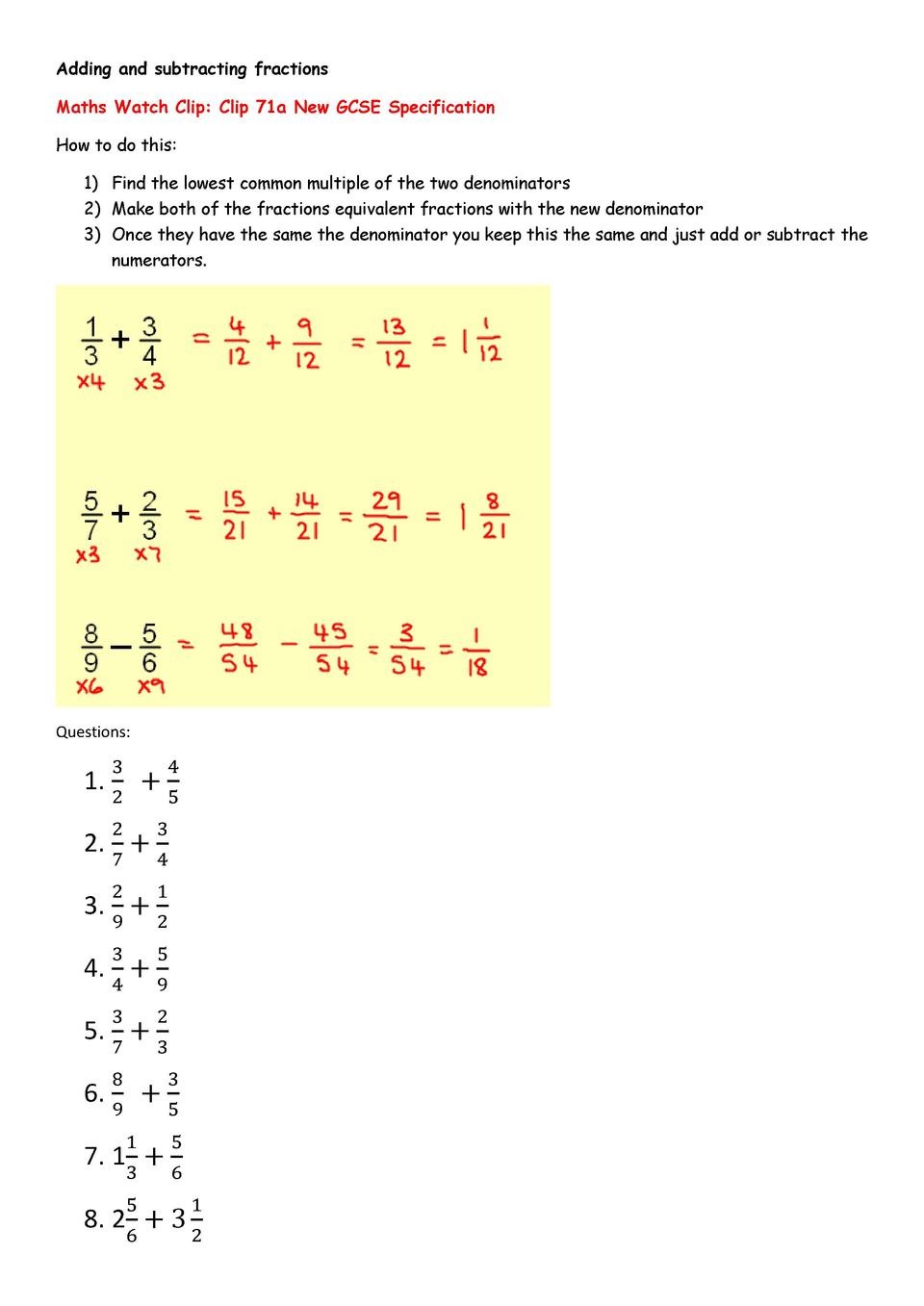 Adding And Subtracting Fractions Maths Watch Clip Clip 71a New Gcse  Specification How To Do This