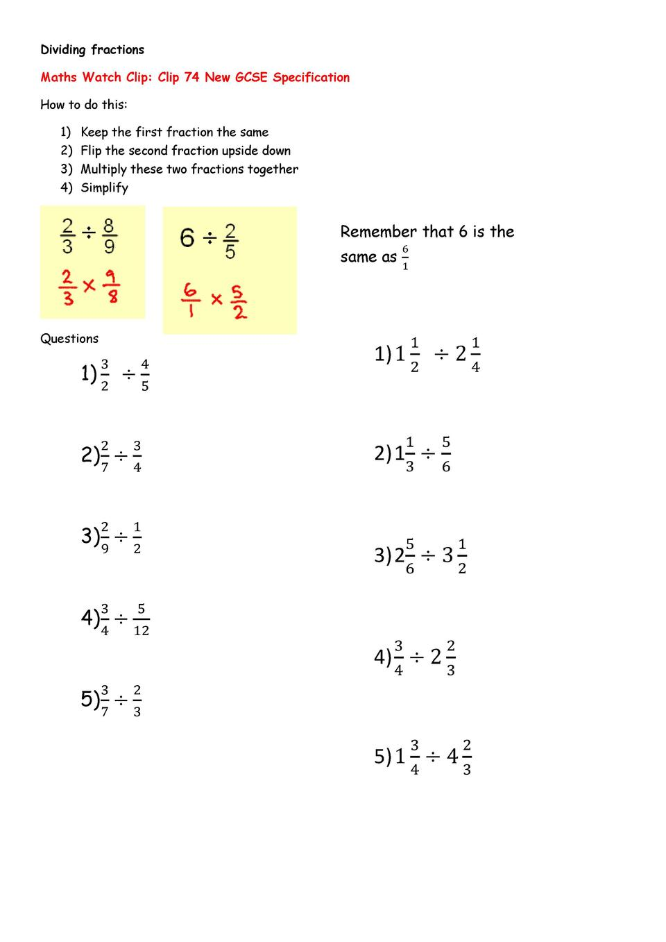 Dividing Fractions Maths Watch Clip Clip 74 New Gcse Specification How To  Do This 1 Keep