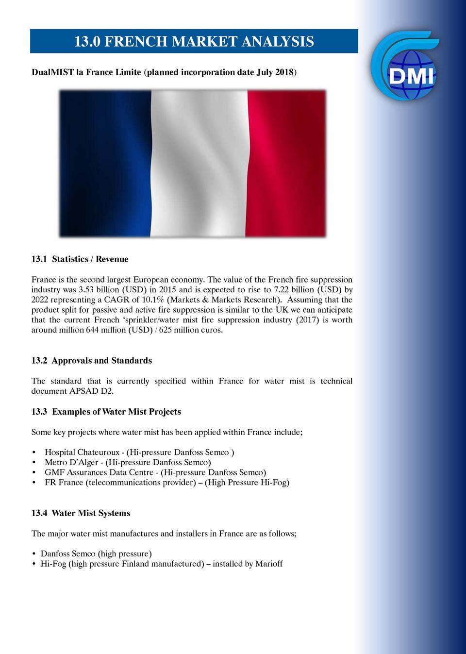 12.0 Distribution of DualMISTMARKET to France 13.0 FRENCH  ANALYSIS  DualMIST la France Limite  planned incorporation date...
