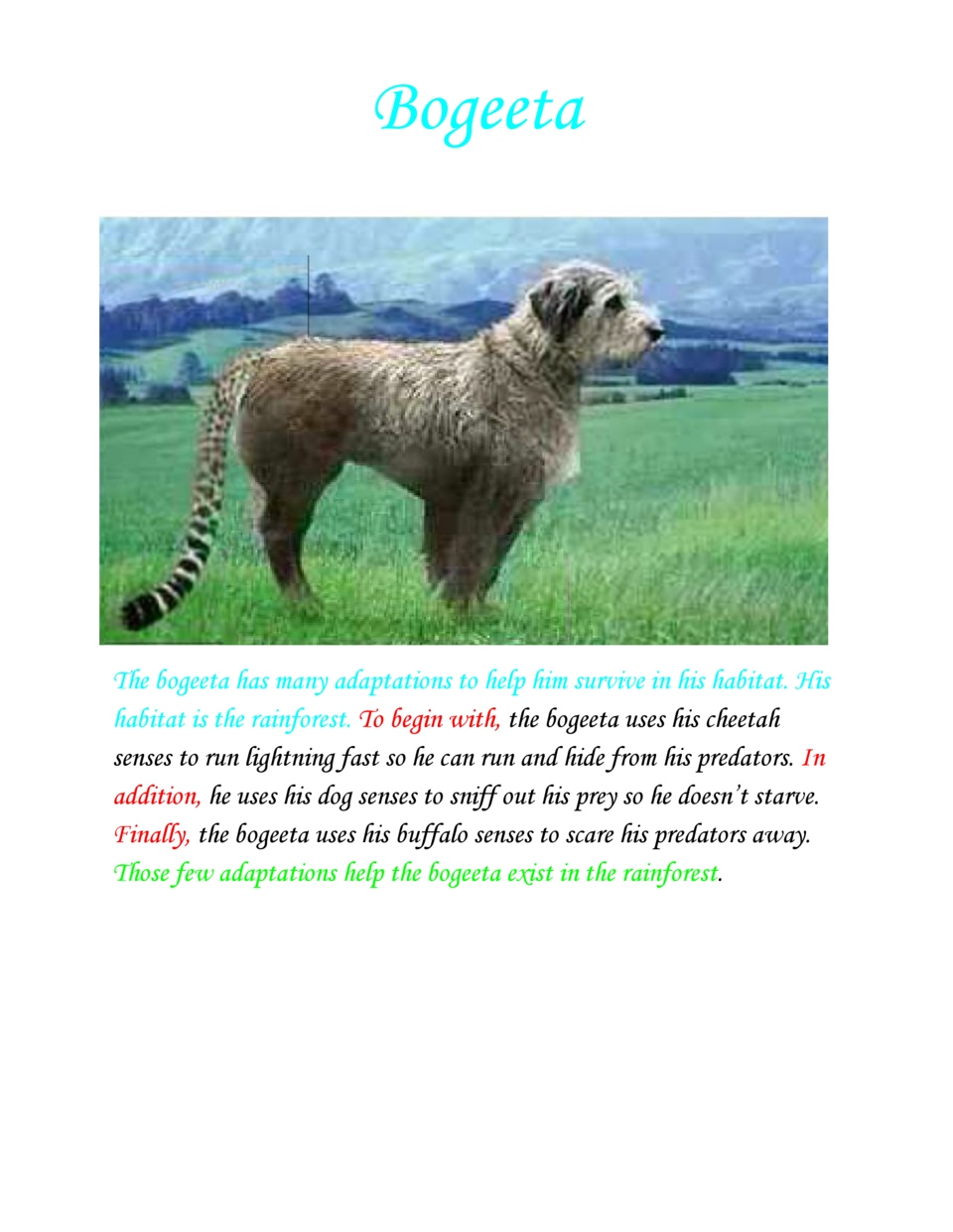 Bogeeta  The bogeeta has many adaptations to help him survive in his habitat. His habitat is the rainforest.     begin wit...