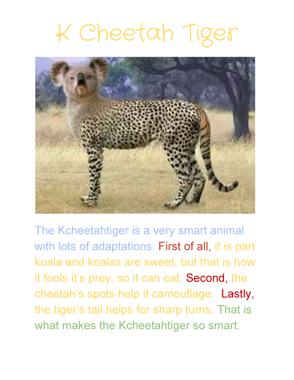K Cheetah Tiger         The  Kcheetahtiger  is  a  very  smart  animal   with  lots  of  adaptations.      First  of  ...