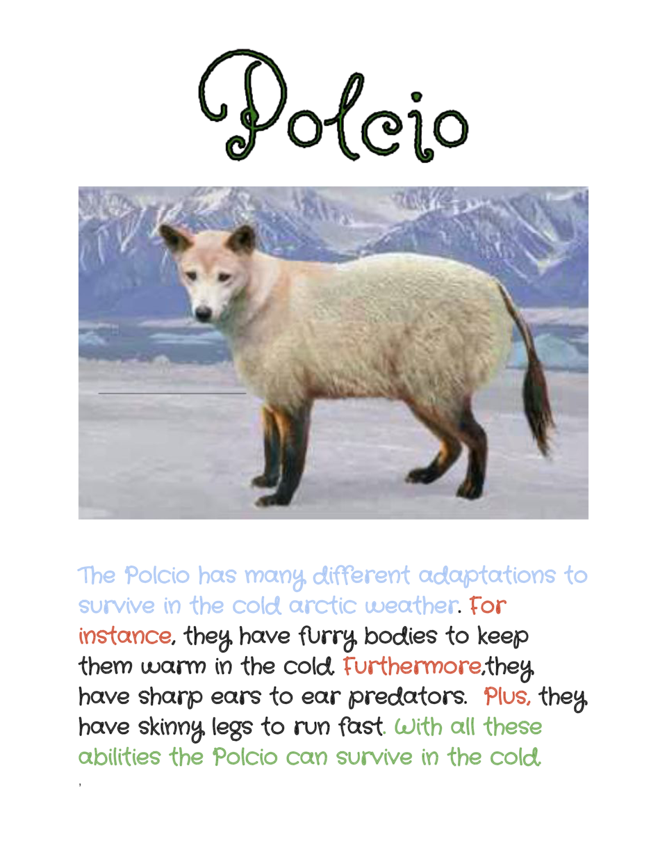 The Polcio has many different adaptations to survive in the cold arctic weather   or .    F instance    , they have fur...