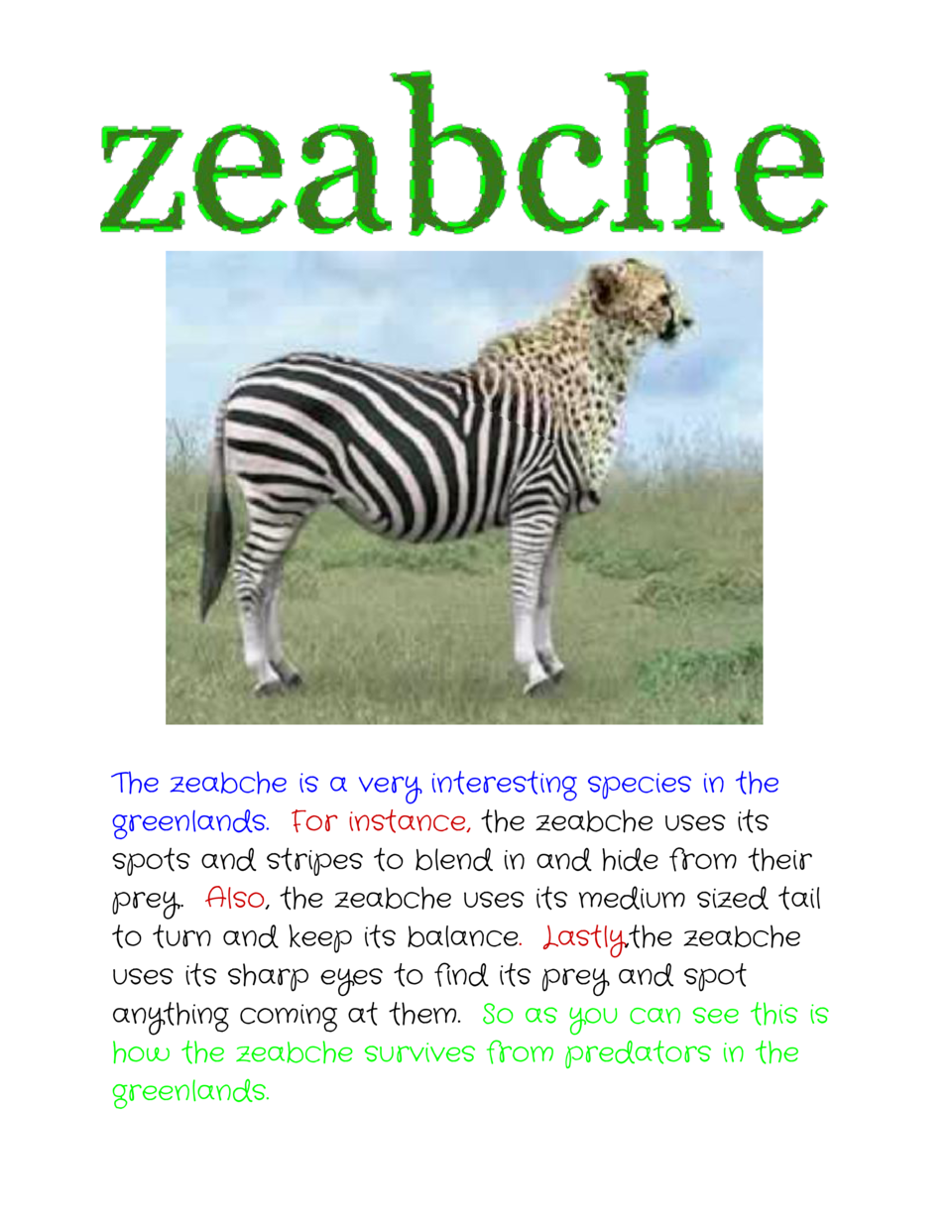 The zeabche is a very interesting species in the greenlands.    or instance,    zeabche uses its F     the spots and s...
