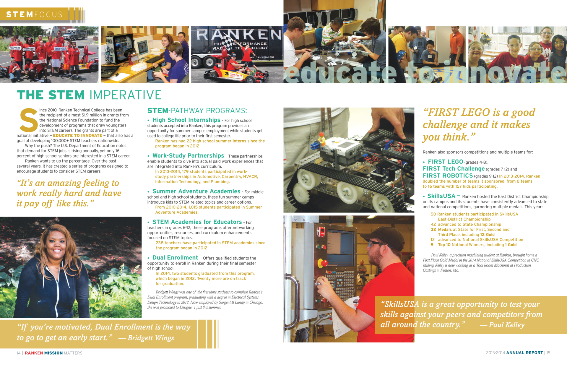 ST E M FOCUS  THE STEM IMPERATIVE  S  ince 2010, Ranken Technical College has been the recipient of almost  1.9 million in...