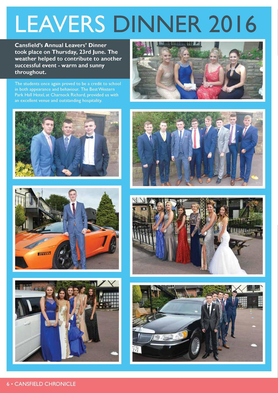 LEAVERS DINNER 2016 Cansfield   s Annual Leavers    Dinner took place on Thursday, 23rd June. The weather helped to contri...