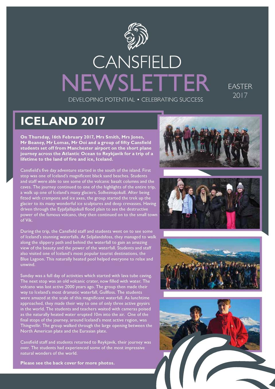 MORE ICELAND PHOTOS  NEWSLETTER DEVELOPING POTENTIAL     CELEBRATING SUCCESS  EASTER 2017  ICELAND 2017 On Thursday, 16th ...