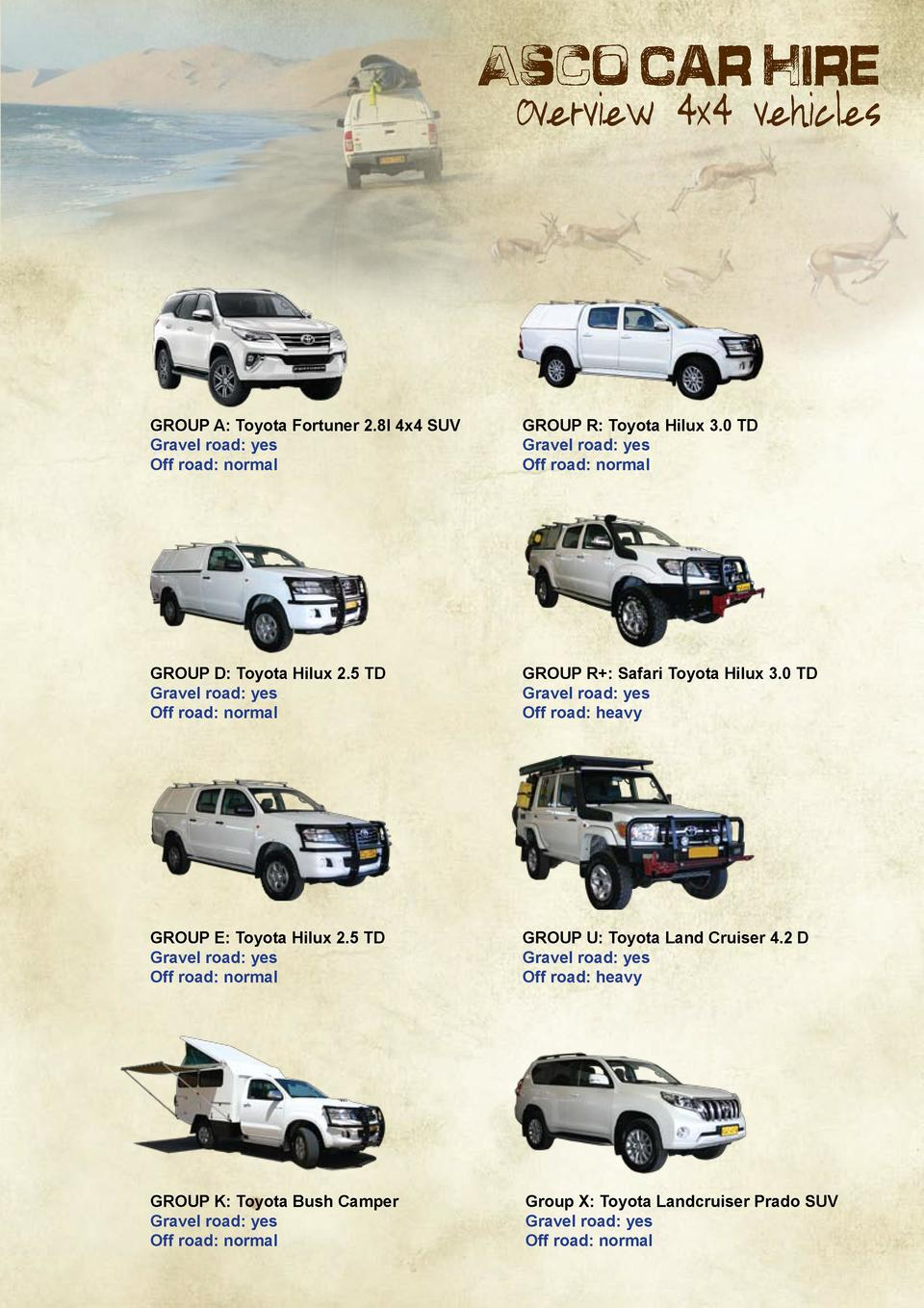 Asco Car Hire  Overview 4x4 vehicles  GROUP A  Toyota Fortuner 2.8l 4x4 SUV Gravel road  yes Off road  normal  GROUP R  To...