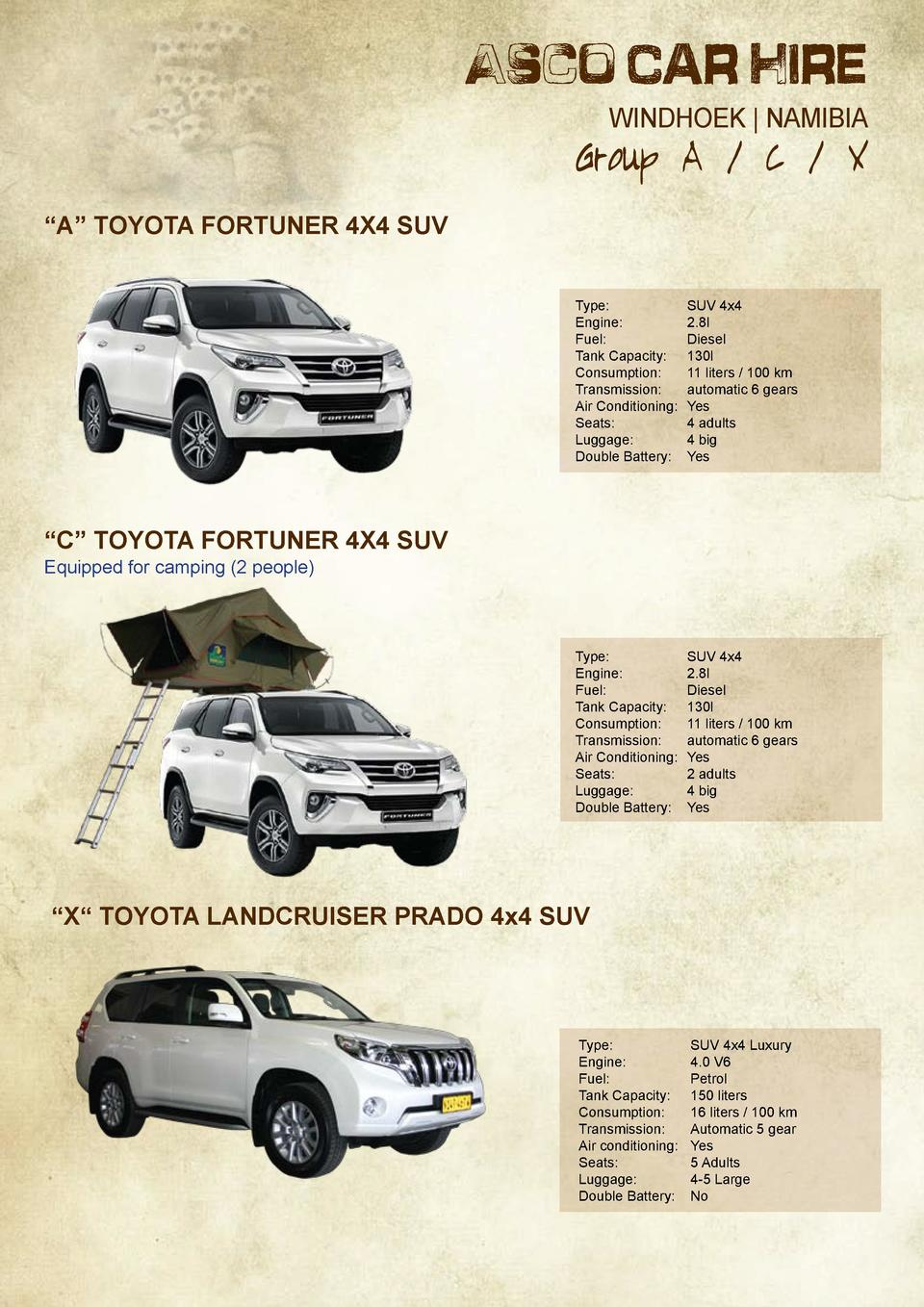 Asco Car Hire WINDHOEK   NAMIBIA  Group A   C   X    A    Toyota Fortuner 4x4 SUV Type     SUV 4x4 Engine     2.8l Fuel   ...
