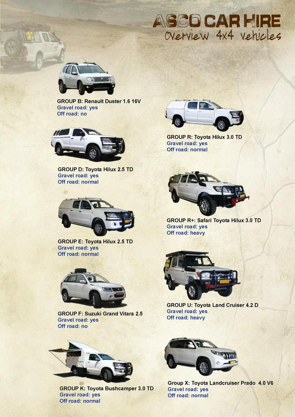 Asco Car Hire  Overview 4x4 vehicles  GROUP B  Renault Duster 1.6 16V Gravel road  yes Off road  no  GROUP R  Toyota Hilux...