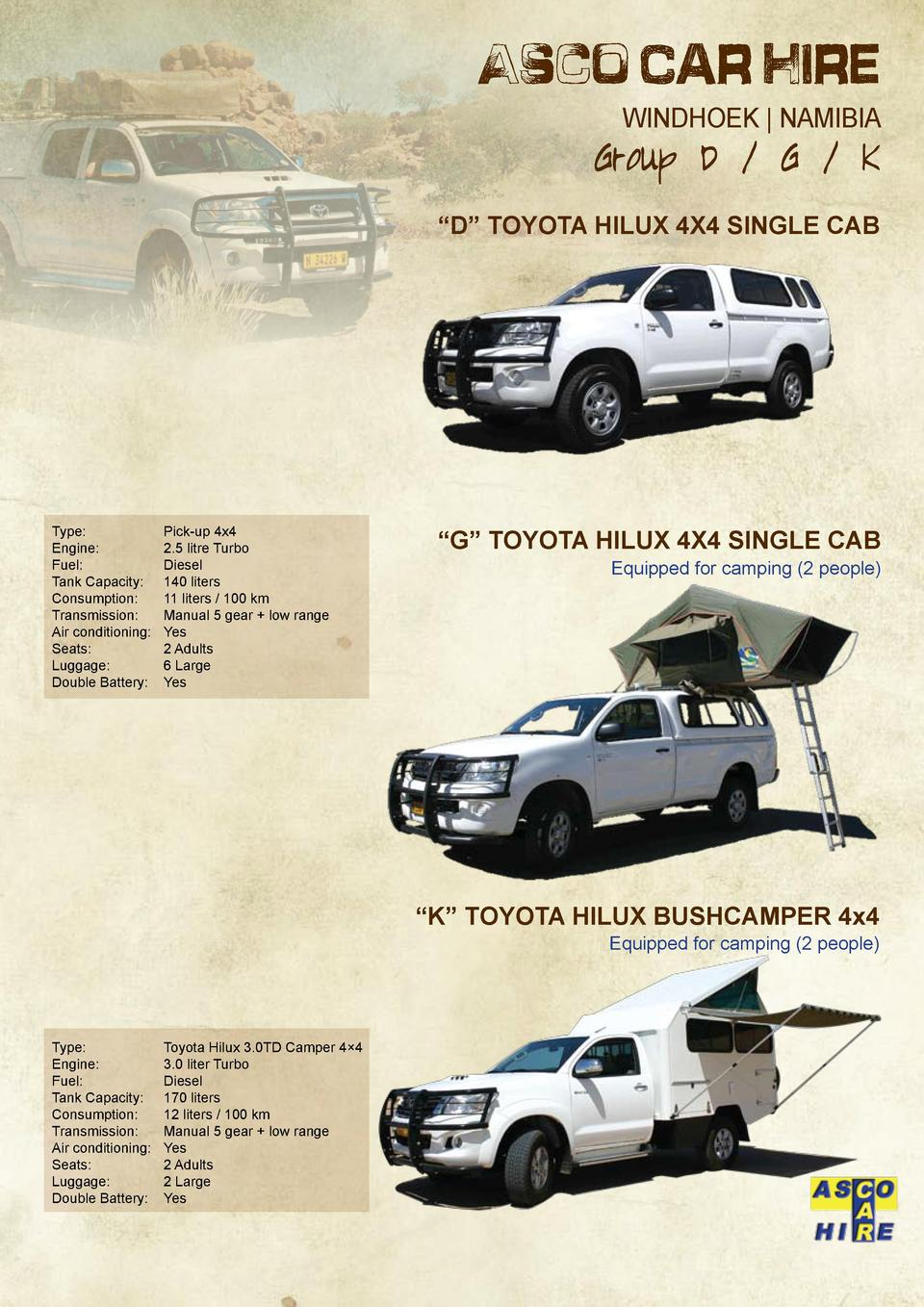 Asco Car Hire WINDHOEK   NAMIBIA  Group D   G   K     D    Toyota Hilux 4x4 Single Cab  Type     Engine    Fuel    Tank Ca...