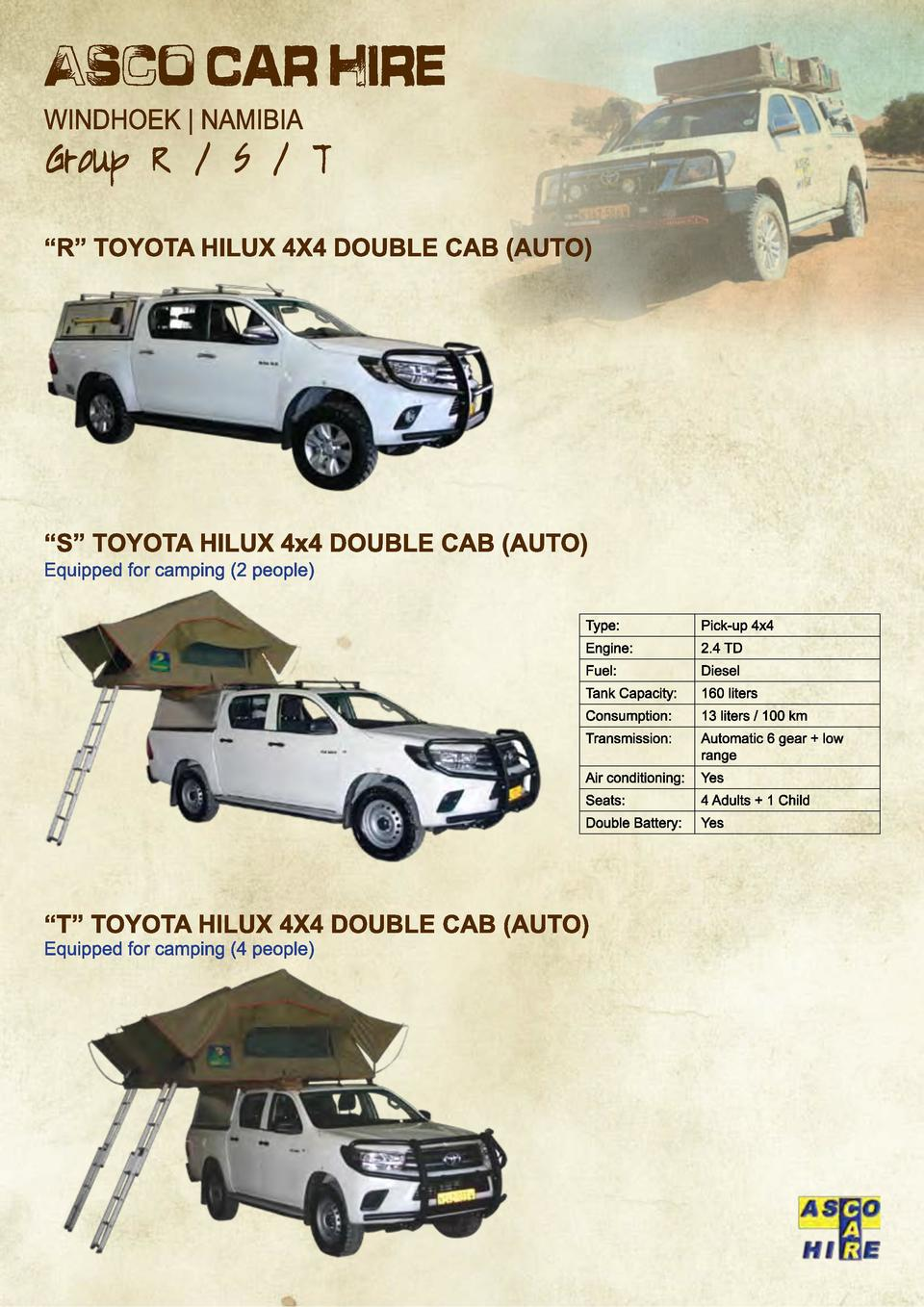 Type   Pick-up 4x4  Engine   2.4 TD  Fuel   Diesel  Tank Capacity   160 liters  Consumption   13 liters   100 km  Transmis...