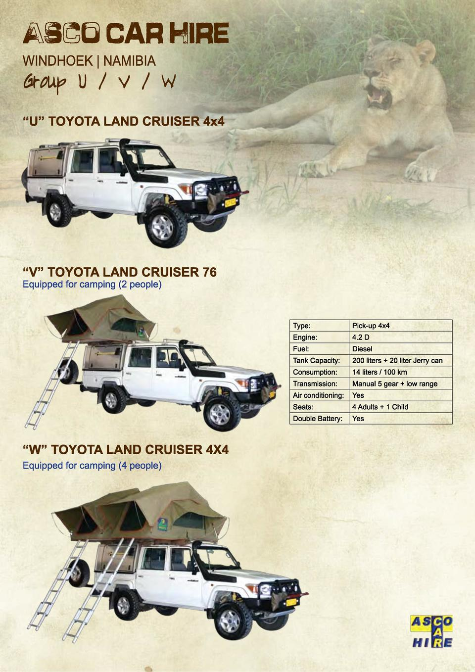Type   Pick-up 4x4  Engine   4.2 D  Fuel   Diesel  Tank Capacity   200 liters   20 liter Jerry can  Consumption   14 liter...