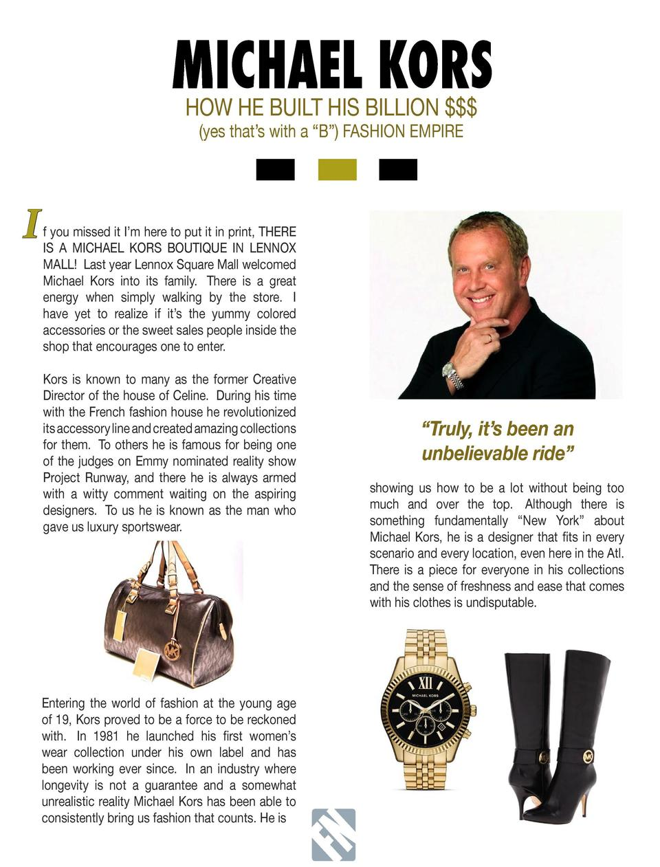 MICHAEL KORS HOW HE BUILT HIS BILLION      FN   yes that   s with a    B     FASHION EMPIRE  FashNation M  A  G  A  Z  I  ...