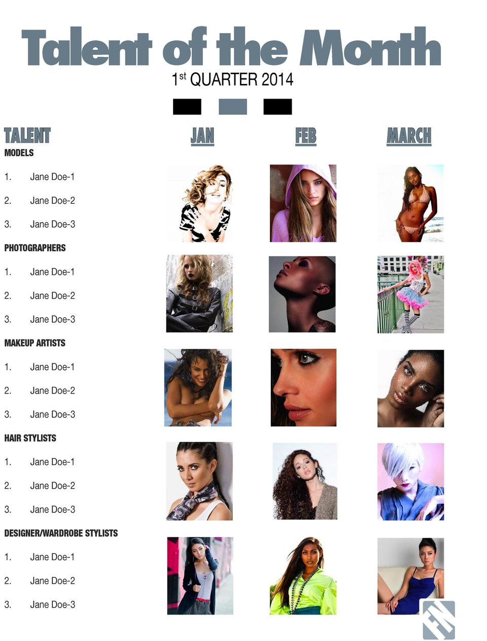 Talent of the Month  FN  1st QUARTER 2014  TALENT  MODELS  M  A  G  A  Z  I  N  E     2.  FEB  MARCH  Jane Doe-1 Jane Doe-...