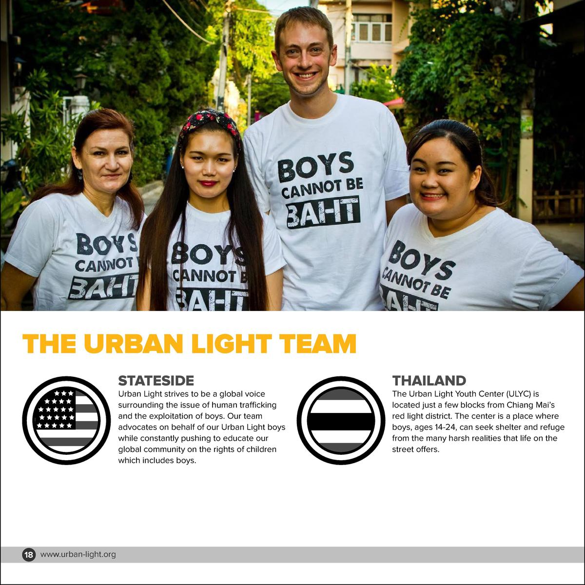 THE URBAN LIGHT TEAM STATESIDE  Urban Light strives to be a global voice surrounding the issue of human trafficking and th...