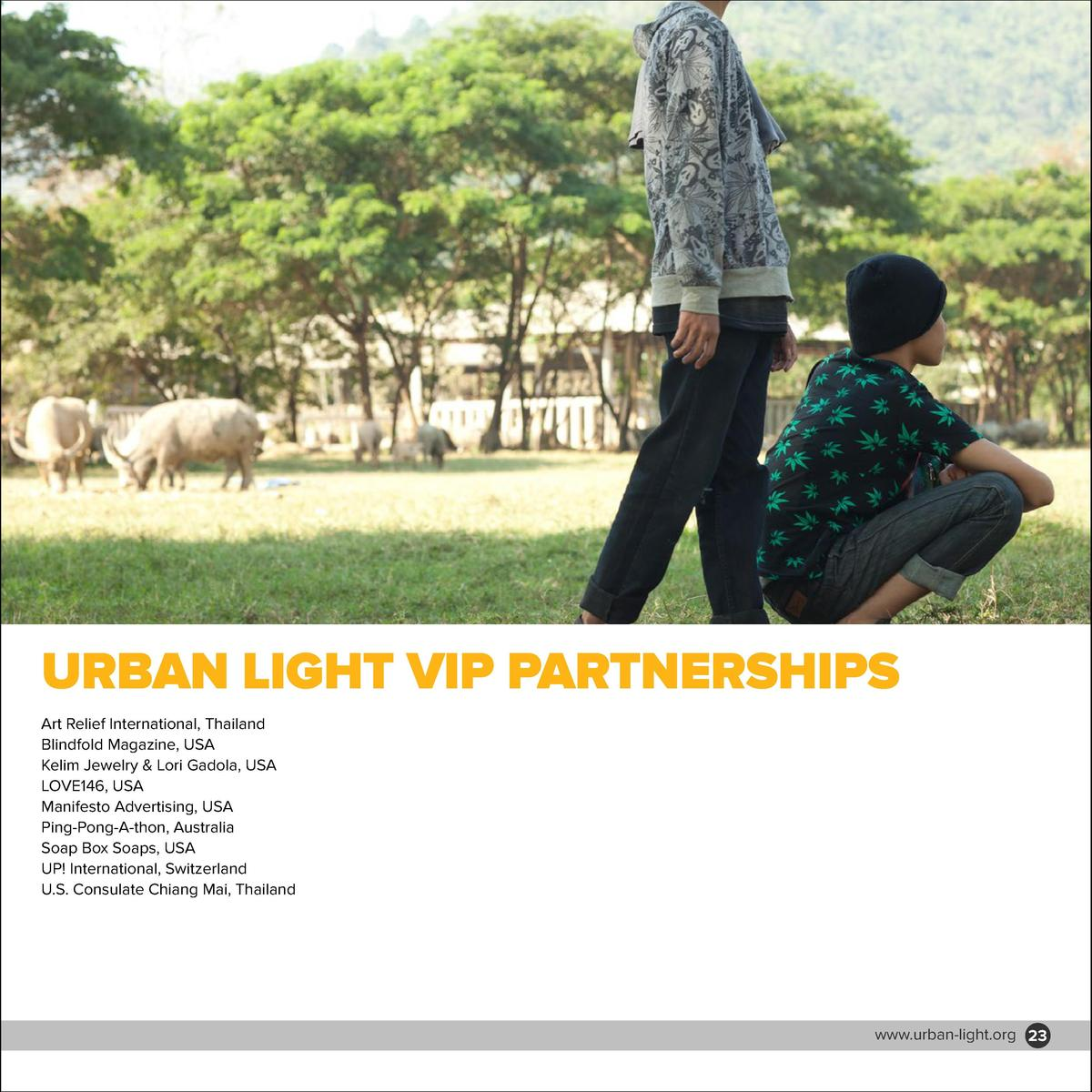 MAJOR DONORS  URBAN LIGHT VIP PARTNERSHIPS  2nd Community Church, USA Adrian Rowse   Ping-Pong-A-Thon, Australia Anthony Y...