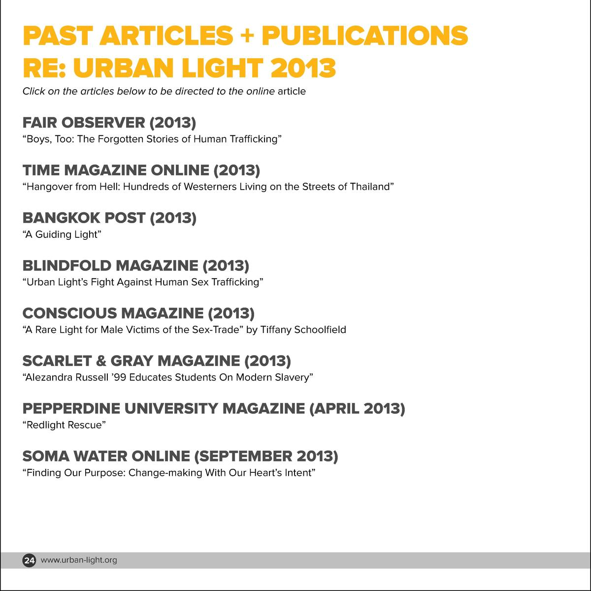 PAST ARTICLES   PUBLICATIONS RE  URBAN LIGHT 2013 Click on the articles below to be directed to the online article  FAIR O...