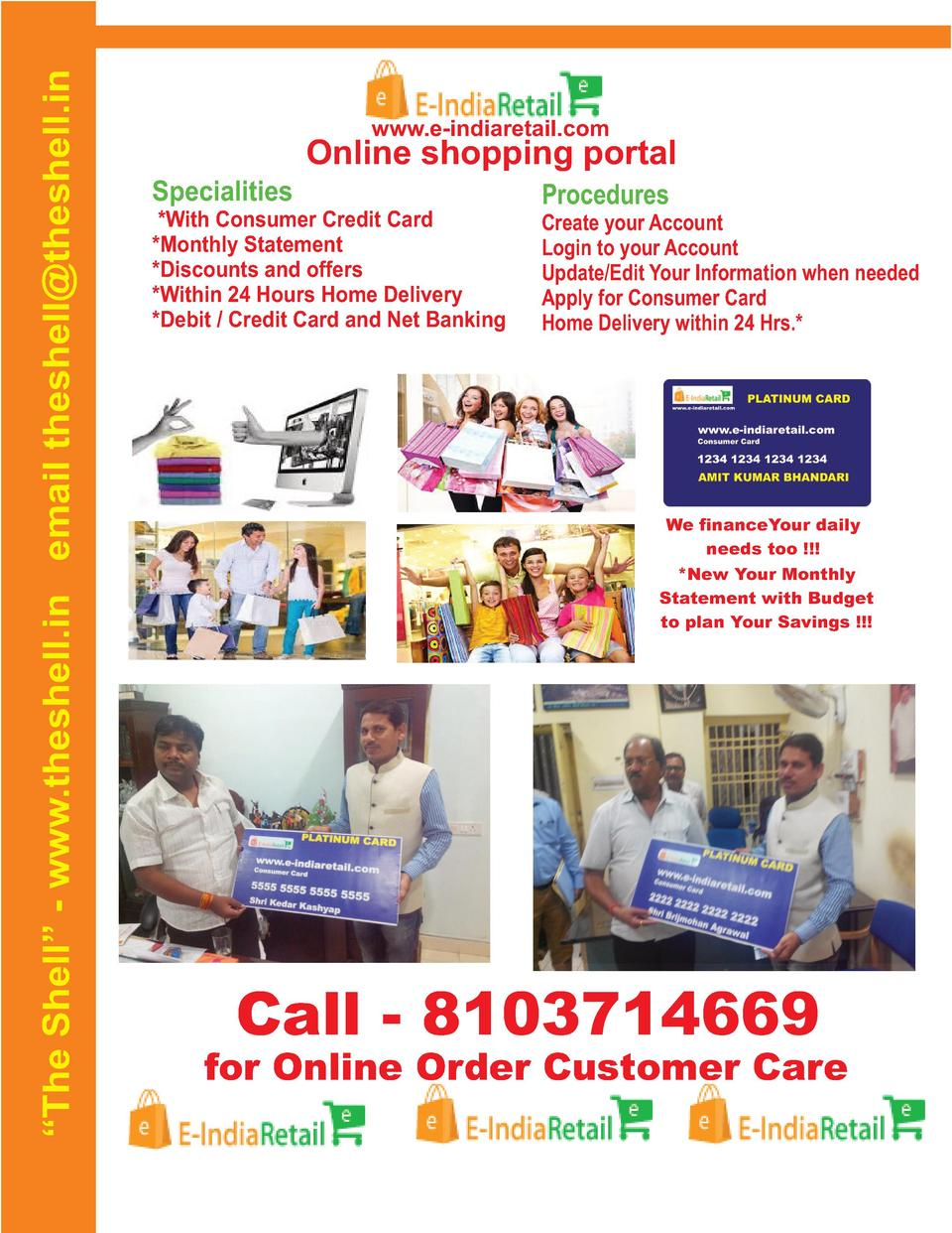 The Shell    - www.theshell.in email theshell theshell.in  www.e-indiaretail.com  Online shopping portal Specialities  ...