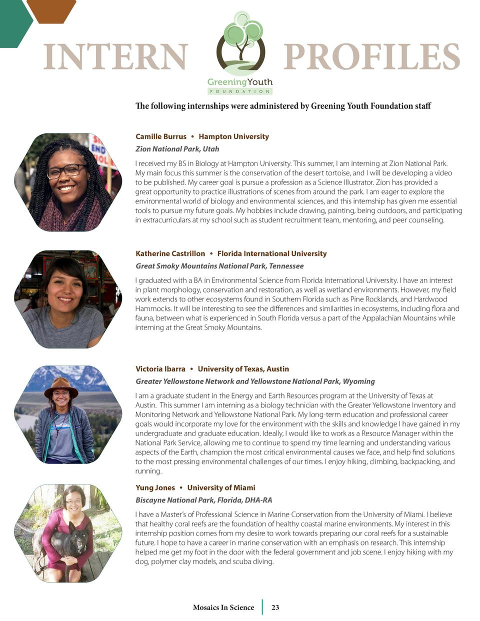 INTERN  PROFILES  The following internships were administered by Greening Youth Foundation staff Camille Burrus     Hampto...