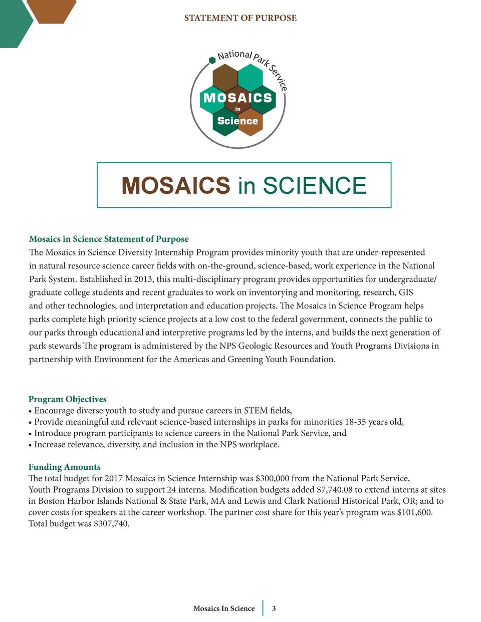 STATEMENT OF PURPOSE  National Park  S ice erv  MOSAICS in SCIENCE Mosaics in Science Statement of Purpose The Mosaics in ...