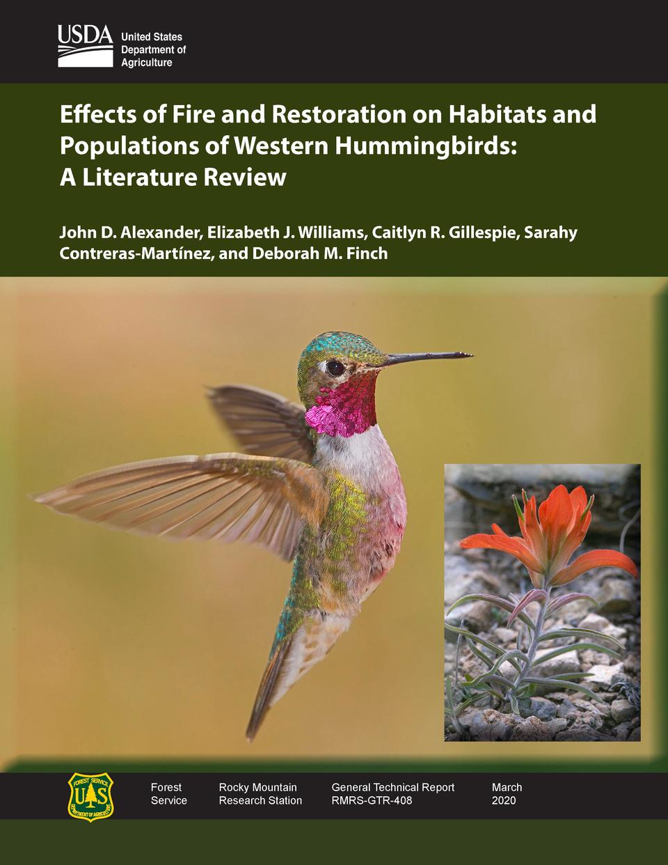 Effects of Fire and Restoration on Habitats and Populations of Western Hummingbirds  A Literature Review John D. Alexander...