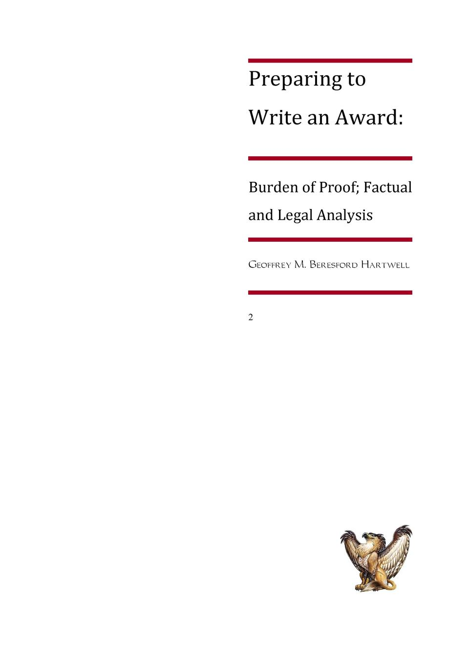 Preparing to Write an Award  Burden of Proof  Factual and Legal Analysis  2