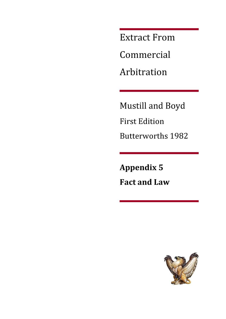 Extract From Commercial Arbitration Mustill and Boyd First Edition Butterworths 1982  Appendix 5 Fact and Law