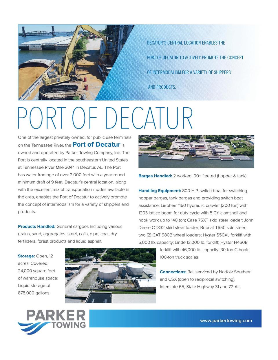 DECATUR   S CENTRAL LOCATION ENABLES THE PORT OF DECATUR TO ACTIVELY PROMOTE THE CONCEPT  THE RIVER CITY INDUSTRIES TERMIN...