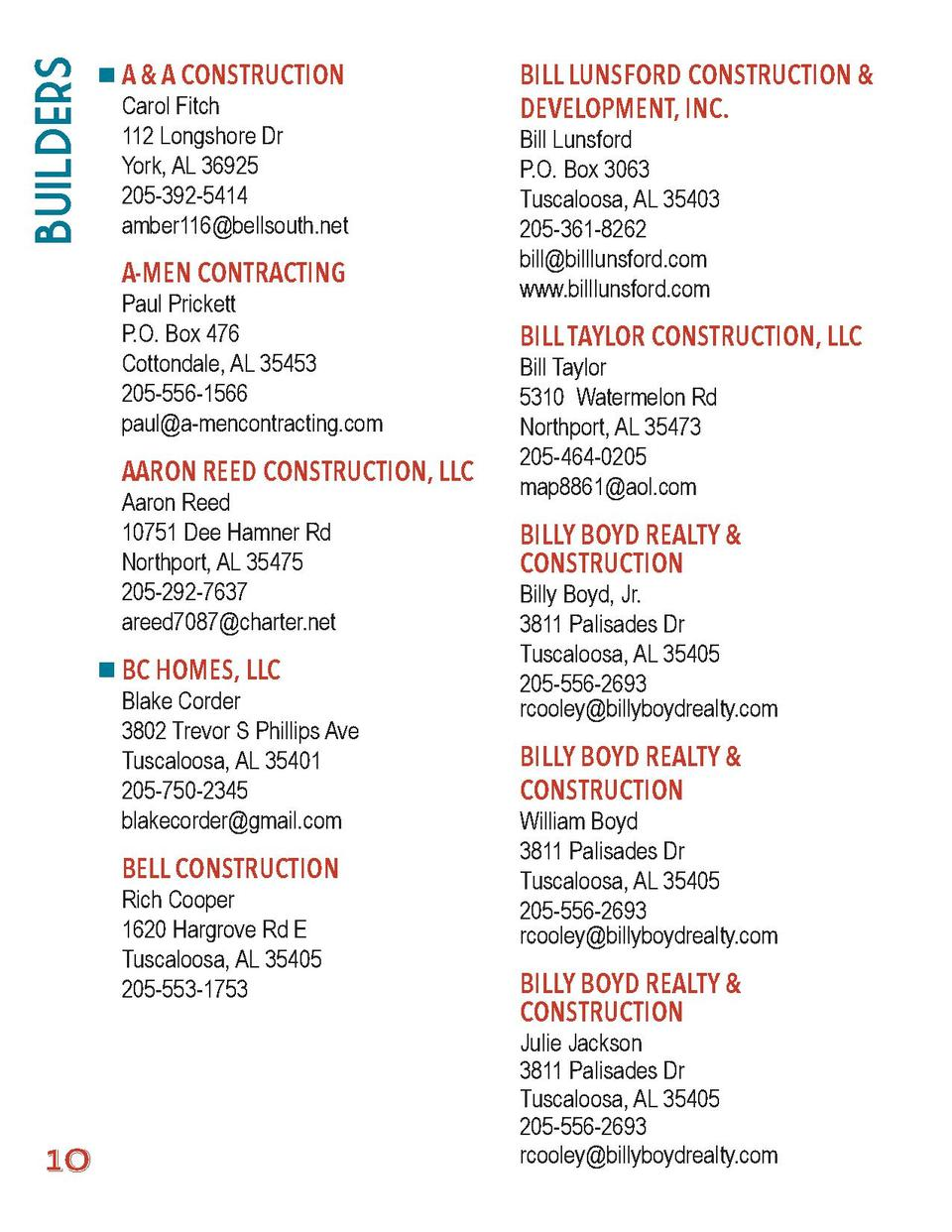 Builders  A   A CONSTRUCTION  Carol Fitch 112 Longshore Dr York, AL 36925 205-392-5414 amber116 bellsouth.net  A-MEN CONTR...
