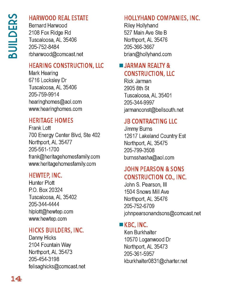 Builders  HARWOOD REAL ESTATE  HOLLYHAND COMPANIES, INC.  HEARING CONSTRUCTION, LLC  JARMAN REALTY   CONSTRUCTION, LLC  Be...