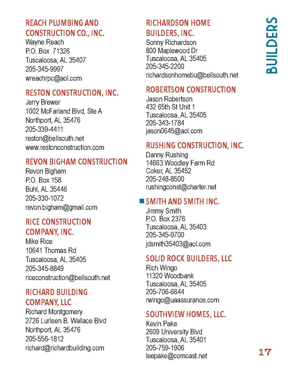 RICHARDSON HOME BUILDERS, INC.  RESTON CONSTRUCTION, INC.  Builders  REACH PLUMBING AND CONSTRUCTION CO., INC.  ROBERTSON ...