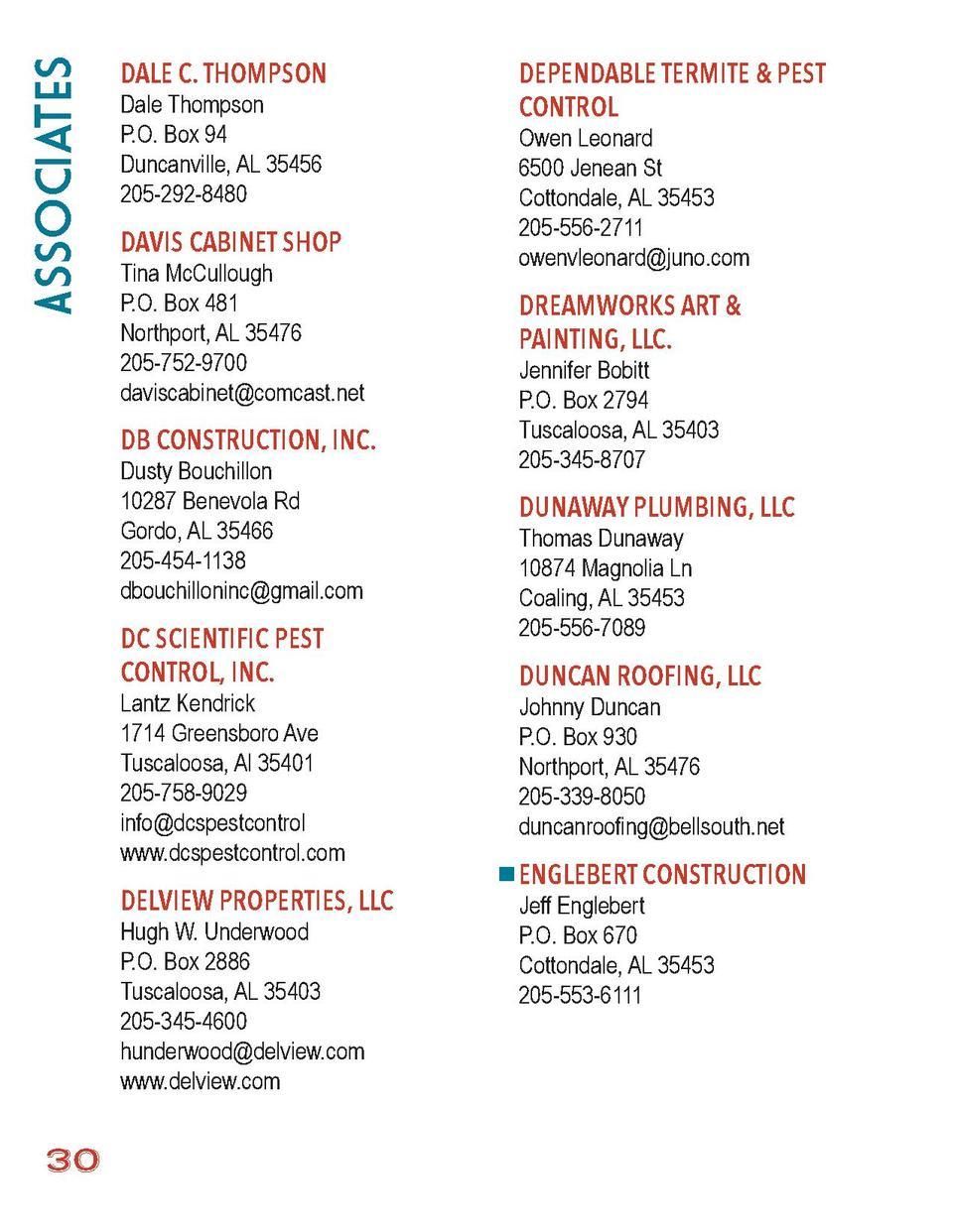 Alabama tuscaloosa county duncanville - Associates Dale C Thompson Dale Thompson P O Box 94 Duncanville Al 35456 205